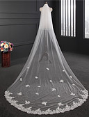 cheap Wedding Dresses-Two-tier Lace Applique Edge Wedding Veil Chapel Veils with Appliques / Embroidery Lace / Tulle / Classic