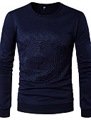 baratos Camisetas & Regatas Masculinas-Homens Camiseta Sólido Decote Redondo Delgado / Manga Longa