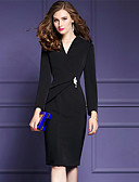 cheap Women's Dresses-Women's Plus Size Going out Sophisticated Street chic Sheath Dress - Solid Colored Black, Ruched Split V Neck