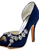 Недорогие Свадебные платья-Жен. Обувь Стретч-сатин Весна / Лето Туфли лодочки Обувь на каблуках На шпильке Открытый мыс Кристаллы Темно-лиловый: / Вино / Со стразами / Свадьба