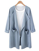 cheap Women's Coats & Trench Coats-Women's Plus Size Cotton Trench Coat - Solid Colored Shirt Collar