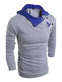 billige T-skjorter og singleter til herrer-Bomull Med hette Store størrelser T-skjorte Herre - Fargeblokk, Trykt mønster Aktiv / Langermet