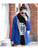 cheap Women's Coats & Trench Coats-Women's Going out Simple / Casual Cotton Coat - Solid Colored / Fall / Winter