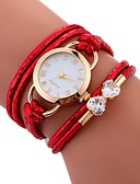 cheap Quartz Watches-Women's Bracelet Watch Chinese Water Resistant / Water Proof / Creative PU Band Casual / Fashion / Elegant White / Blue / Red / Stainless Steel
