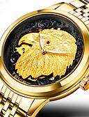 olcso Mechanikus órák-Férfi Sportos óra Katonai óra Karóra Japán Automatikus önfelhúzós 30 m Vízálló Kreatív Menő Rozsdamentes acél Zenekar Analóg Amulett Luxus Alkalmi Arany - Arany Fehér Fekete