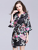 cheap Pajamas & Robes-Women's Satin & Silk Robes Nightwear - Print, Floral