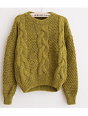 cheap Women's Sweaters-Women's Going out Long Sleeves Mohair Pullover - Solid Colored