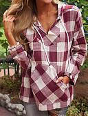 preiswerte Damen Kapuzenpullover & Sweatshirts-Damen Übergrössen Grundlegend Kapuzenshirt Schachbrett