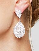 preiswerte Büstenhalter-Damen Klar Klar Synthetischer Diamant Tropfen-Ohrringe - versilbert Tropfen Luxus, Elegant, Brautkleidung Weiß Für Hochzeit Party Jahrestag
