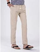 abordables Pantalones y Shorts de Hombre-Hombre Chic de Calle Lino Corte Ancho Perneras anchas Pantalones - Un Color