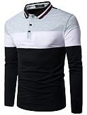 preiswerte Herren T-Shirts & Tank Tops-Herrn Einfarbig Baumwolle T-shirt, Hemdkragen / Langarm