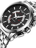 cheap Steel Band Watches-Men's Wrist Watch Stainless Steel Silver Water Resistant / Waterproof Calendar / date / day Creative Analog Charm Luxury Casual Fashion Elegant - White Black One Year Battery Life / Large Dial