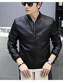 cheap Men's Jackets & Coats-Men's Basic Leather Jacket - Solid Colored Stand / Long Sleeve