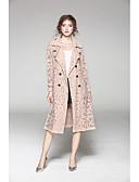 cheap Women's Coats & Trench coats-JOJO HANS Women's Work Long Trench Coat - Solid Colored, Lace Shirt Collar