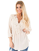 cheap Robes & Sleepwear-Women's Plus Size Blouse - Solid Colored Lace V Neck / Spring / Summer