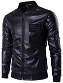 olcso Férfi dzsekik és kabátok-Egyszerű Férfi Kožnate jakne - Egyszínű