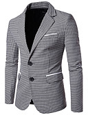 cheap Men's Blazers & Suits-Men's Business Vintage Business Casual Slim Blazer-Houndstooth Peaked Lapel / Long Sleeve / Work