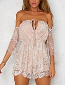 cheap Women's Jumpsuits & Rompers-Women's Party / Club / Beach Boho Romper - Patchwork, Backless / Mesh High Rise Strapless / Summer / Fall / Lace