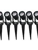 abordables Sostenes-Jiawen 6pcs 3w led lámpara de jardín lámpara de jardín decoración luces de jardín negro ac 85-265v