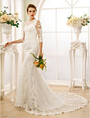 cheap Wedding Dresses-Mermaid / Trumpet Jewel Neck Court Train Tulle / All Over Floral Lace Made-To-Measure Wedding Dresses with Buttons by LAN TING BRIDE® / Illusion Sleeve / See-Through / Beautiful Back