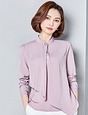 cheap Girls' Clothing-Women's Going out Cotton Blouse - Solid Colored