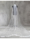 cheap Wedding Veils-One-tier Lace Applique Edge Wedding Veil Chapel Veils Cathedral Veils 53 Appliques Lace Tulle