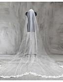baratos Véus de Noiva-Uma Camada Borda com aplicação de Renda Véus de Noiva Véu Capela / Véu Catedral com Apliques Renda / Tule / Clássico