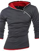 זול טרנינגים וקפוצ'ונים לגברים-בגדי ריקוד גברים פעיל / בוהו מידות גדולות מכנסיים - קולור בלוק אפור כהה / עם קפוצ'ון / ספורט / שרוול ארוך / סתיו / חורף