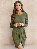 cheap Women's Dresses-Women's Street chic Sheath Dress - Solid Colored, Ruched