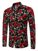 cheap Men's Shirts-Men's Plus Size Slim Shirt - Floral Print / Long Sleeve
