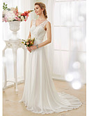 cheap Wedding Dresses-A-Line V Neck Court Train Chiffon / Lace Bodice Made-To-Measure Wedding Dresses with Beading / Appliques / Button by LAN TING BRIDE®
