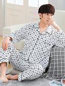 cheap Men's Pajamas & Robes-Men's Shirt Collar Suits Pajamas - Print