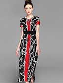 preiswerte Damen Kleider-Damen Hülle Kleid Einfarbig Patchwork Midi V-Ausschnitt