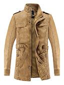 お買い得  メンズジャケット&コート-男性用 プラスサイズ ロング レザージャケット スタンド ソリッド
