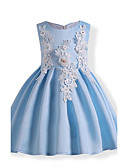 cheap Girls' Dresses-Girl's Birthday Daily Holiday Solid Floral Embroidered Dress, Cotton Winter Fall Sleeveless Floral Bow Lace Blue