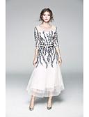 olcso Női kétrészes kosztümök-Női Hüvely Ruha - Nyomtatott, Egyszínű Hímzett