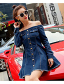 baratos Vestidos Plus Size-Mulheres Simples Algodão Calças - Sólido Azul / Decote Canoa / Ganga / Para Noite