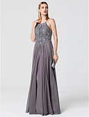 cheap Mother of the Bride Dresses-Princess Spaghetti Strap Floor Length Chiffon Sparkle & Shine / Open Back Formal Evening Dress with Beading by TS Couture®