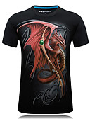 cheap Men's Swimwear-Men's Sports Active Plus Size Cotton Slim T-shirt - Animal Dragon, Print Round Neck / Short Sleeve