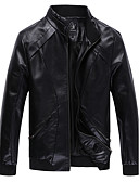 cheap Men's Jackets & Coats-Men's Daily Punk & Gothic Winter Fall Plus Size Regular Leather Jacket,Solid Stand PU Polyester