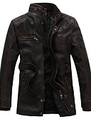 olcso Férfi dzsekik és kabátok-Állógallér Férfi Extra méret Hosszú Kožnate jakne - Egyszínű