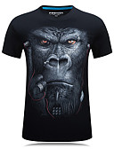 cheap Men's Tees & Tank Tops-Men's Sports Active Plus Size Cotton Slim T-shirt - Animal Print Round Neck / Short Sleeve