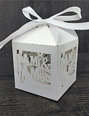 cheap Wedding Dresses-Round Square Cubic Pearl Paper Favor Holder with Ribbons Printing Favor Boxes - 50