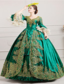 cheap Corsets-Marie Antoinette Rococo / 18th Century Costume Women's Dress / Party Costume / Masquerade Green Vintage Cosplay Lace / Satin Long Sleeve Poet Sleeve Long Length