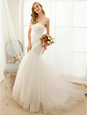 cheap Wedding Dresses-Mermaid / Trumpet Sweetheart Neckline Sweep / Brush Train Tulle Made-To-Measure Wedding Dresses with Button / Criss-Cross by LAN TING BRIDE® / Open Back