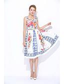 זול שמלות נשים-כתפיה מידי / עד הברך פרחוני - שמלה משוחרר / נדן משי סגנון סיני ליציאה בגדי ריקוד נשים