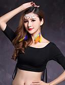 hesapli Göbek Dansı Giysileri-Göbek Dansı Üstler Kadın's Performans Modal Fırfırlı Yarım Kol Doğal Top