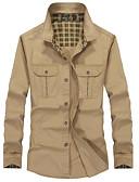 זול בגדי ים לגברים-אחיד צווארון רחב רזה סגנון רחוב / Military כותנה, חולצה - בגדי ריקוד גברים / שרוול ארוך