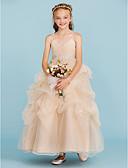 olcso Virágszóró kislány ruhák-Báli ruha Bokáig érő Virágoslány ruha - Tüll Ujjatlan Spagettipánt val vel Csokor által LAN TING BRIDE®