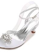 ieftine Voal de Nuntă-Pentru femei Pantofi Satin Primăvară / Vară Confortabili / Balerini Basic pantofi de nunta Toc Mic / Toc Înalt / Toc Jos Vârf rotund /